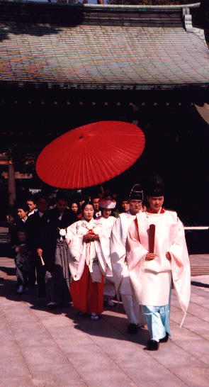 Walking up the aisle. Traditional wedding in Tokyo, Japan. Photographed, Easter 1995